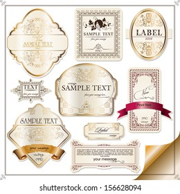 set of labels for wine with grapes, gold ribbon & etc.