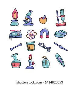 Set of laboratory equipment in flat color outlined doodle style. Hand drawn childish chemistry and science icons set. Elements, tools, test-tube. Reactions research, education, medical stuff.