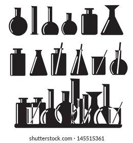 Set of laboratory equipment icons illustration