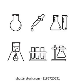 Set of laboratory equipment icons. Science lab concept, simple flat design. Isolate on white background.