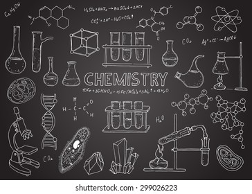 Set of laboratory equipment. Vector  hand drawing icons. Vintage background. Linear illustration.  Back to School. Chemistry. Chalk board.