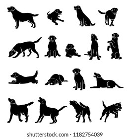 Set of Labrador Retriever silhouettes - isolated vector illustration