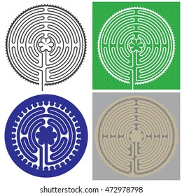 Set of Labyrinth of the Cathedral of Notre Dame in Chartres. Maze for children.