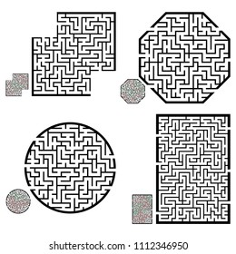 Set of labyrinths, mazes conundrums for kids. Baby puzzles with entry and exit. Children riddle games.