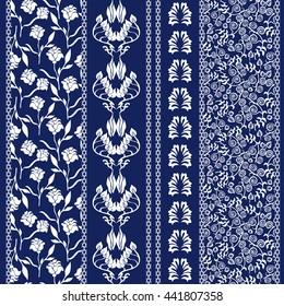 Set of Lace Bohemian Seamless Borders. Boho Style Seamless Pattern. Stripes with Floral Motifs, Roses, Paisleys. Ethnic Textile Collection. White, Dark Blue. Batik Flourish Print on Cotton Fabric.