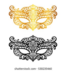 Set of lace carnival venetian masks on white background.
