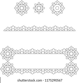 Set of lace elements. Coloring. Vector.
