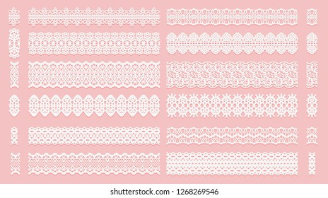 Set of lace pattern brushes. Tracery ribbons isolated on a pink background. Elements for decor scrapbooking wedding invitations and cards. Vector illustration.