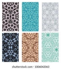 Set of lace patterns on light backgrounds