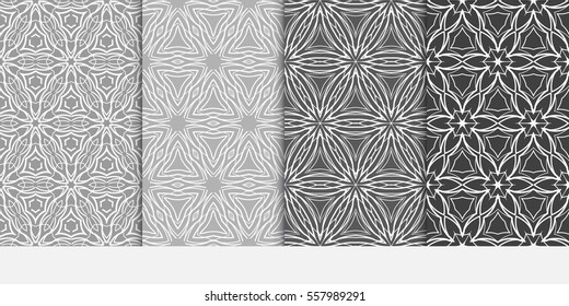 set of Lace seamless pattern with floral ornament. Creative Vector illustration. grey color for design invitation, background, wallpaper