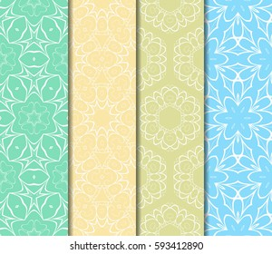 set of Lace seamless pattern with floral ornament. Creative Vector illustration. For the interior design, printing, web and textile design.