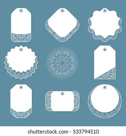 Set lace tags of different forms. For clothing, bedding, women's stuff, holidays, decoration Elegant Design. Vector illustration