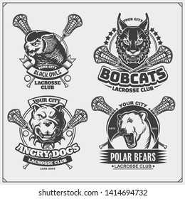 Set of lacrosse badges, labels and design elements. Sport club emblems with polar bear, bobcat, pitbulland owl. Print design for t-shirts.