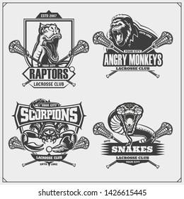 Set of lacrosse badges, labels and design elements. Sport club emblems with gorilla, cobra, raptor dinosaur and scorpion. Print design for t-shirts.