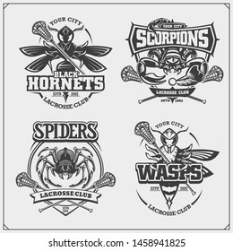 Set of lacrosse badges, labels and design elements. Sport club emblems with scorpion, wasp, hornet and spider. Print design for t-shirts.