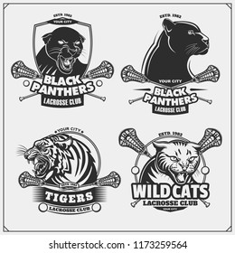 Set of lacrosse emblems, badges, logos and labels with tiger, panther and wildcat. Print design for t-shirt.