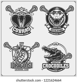 Set of lacrosse emblems, badges, logos and labels with cobra, crocodile and dragon.