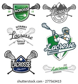 Set of lacrosse sport events design elements