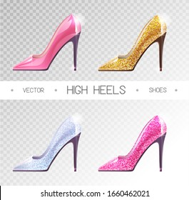 Set of ladies disco high heels shoes isolated on transparent background. Vector illustration