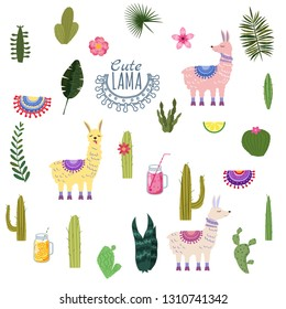 Set Lama Alpaca cacti drinks and decorative. Collection of elements for decoration, vector, illustration, isolated, cute style