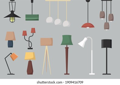 Set of lamp. Vector collection of floor lamp table lamp  ceiling lamp. Vector cartoon set.