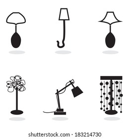 set of lamps, black and white icon, vector
