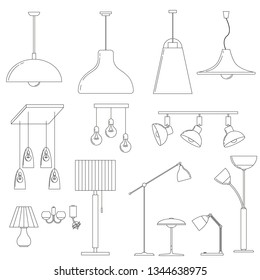 set of lamps, floor lamps, chandeliers, wall and table lamps in a linear style. Vector