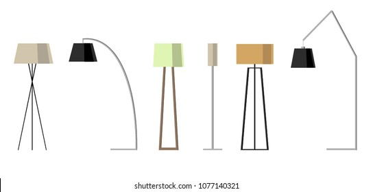 Set of lamps. Floor lamps. Vector illustration lamp light isolated electric interior energy furniture. Floor lamps home energy furniture modern equipment.