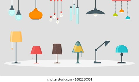 A set of lamps on a white background. Furniture chandelier, floor and table lamp in flat cartoon style. Chandeliers, illuminator, flashlight - elements of a modern interior.Vector illustration,EPS 10.