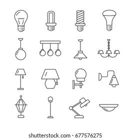 Set of lamps Related Vector Line Icons. Includes such icons as bulb, lights, lantern, light,  chandelier