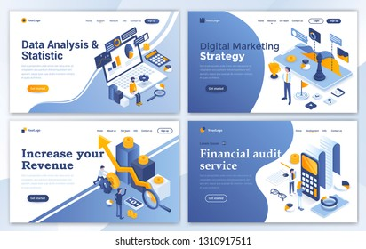 Set of Landing page design templates for Data Analysis, Digital Marketing Strategy, Incease your Revenue and Financial audit. Easy to edit and customize. Modern Vector illustration concepts