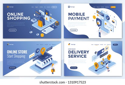 Set of Landing page design templates for Online Shopping, Mobile Payment, Online Store and Delivery Service. Easy to edit and customize. Modern Vector illustration concepts for websites