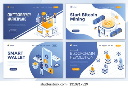 Set of Landing page design templates for Cryptocurrency marketplace, Bitcoin mining, Smart wallet and Blockchain revolution. Easy to edit and customize. Modern Vector illustration concepts