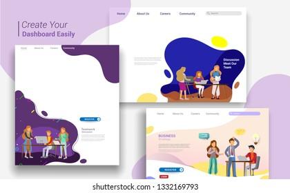Set of landing page design templates, business strategy, analytics and brainstorming. Modern vector illustration concepts for website design ui\u002Fux and mobile website development, business presentation
