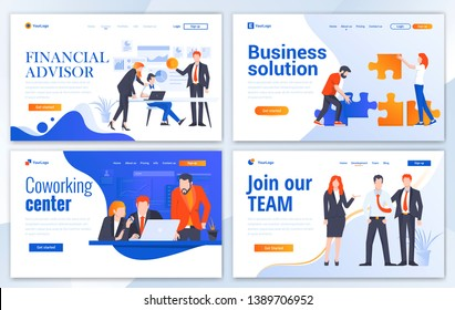 Set of Landing page design templates for Financial advisor, Business solution, Coworking and Join our team. Easy to edit and customize. Modern Vector illustration concepts for websites