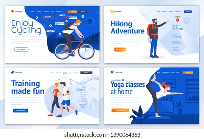 Set of Landing page design templates for Cycling, Hiking, Training and Yoga. Easy to edit and customize. Modern Vector illustration concepts for websites