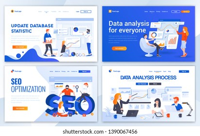 Set of Landing page design templates for Update database statistic, Data Analysis, Seo and Data Analysis process. Easy to edit and customize. Modern Vector illustration concepts for websites