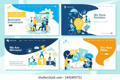 Set of Landing page design templates for SEO, Web Design, Ui Development and Digital Marketing. Business and partnership concept, success, hi-tech technology, signing documents.  Vector illustration