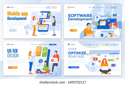 Set of Landing page design templates for Mobile app development, Software development, Ui Design and Optimize your files. Easy to edit and customize. Modern Vector illustration concepts for websites