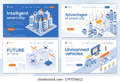 Set of Landing page design templates for Intelligent smart city, Advantages of smart city, Future is here and Unmanned vehicles. Easy to edit and customize. Modern Vector illustration concepts