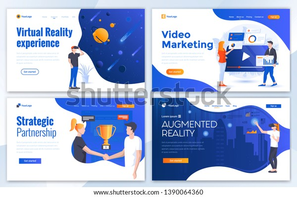 Set of Landing page design templates for Virtual reality, Augmented reality, Video marketing and Strategic artnership. Easy to edit and customize. Modern Vector illustration concepts for websites