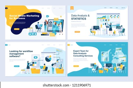 Set of landing page template for data analysis, management, consulting, marketing. Modern vector illustration flat concepts decorated people character for website and mobile website development.