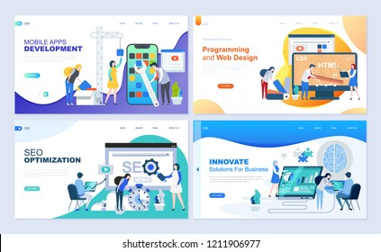 Set of landing page template for web development, SEO, mobile apps, business solutions. Modern vector illustration flat concepts decorated people character for website and mobile website development.