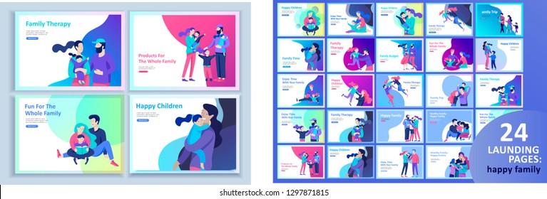 Набор шаблонов Landing страницы счастливой семьи, путешествий и психотерапии, семейного здоровья, товаров развлечения для матери отца и их детей. Родители с дочь и сын есть удовольствие вместе
