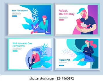 Set of Landing Page Templates with Vector Symbol. Happy people with their pets, a cat loves its owners, care and love, a pet shop and a veterinary pharmacy. Animal Day and adoption. Vector