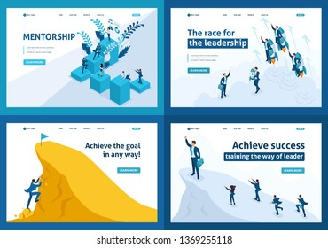 Set of Landing pages isometric concept leadership, motivation, goal movement, mentorship