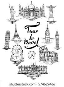 Set of landmark of Agra, Cairo, Rio de janeiro, Pisa, Madrid, New york, Moscow, Paris, Rome, London, lettering by a brush pen Time to travel