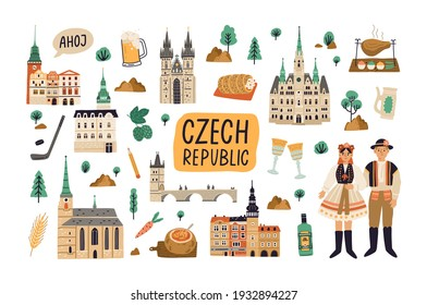 Set of landmarks, buildings, food and drinks of Czech republic. Old architecture, famous palaces, churches, bridges and castles. Colored flat cartoon vector illustration isolated on white background