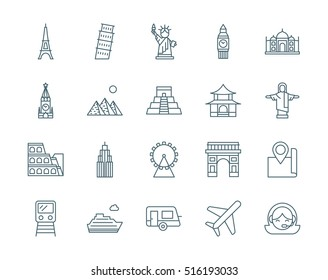 Set of landmarks, travel vector icons