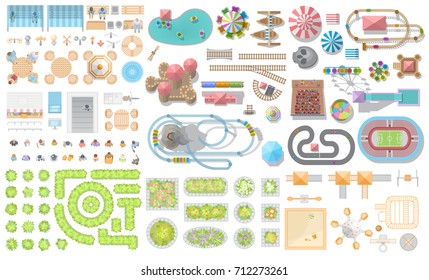 Set of landscape elements. Amusement park. Top view. Fences, paths, lights, furniture, trees, attractions, tents, construction. View from above.